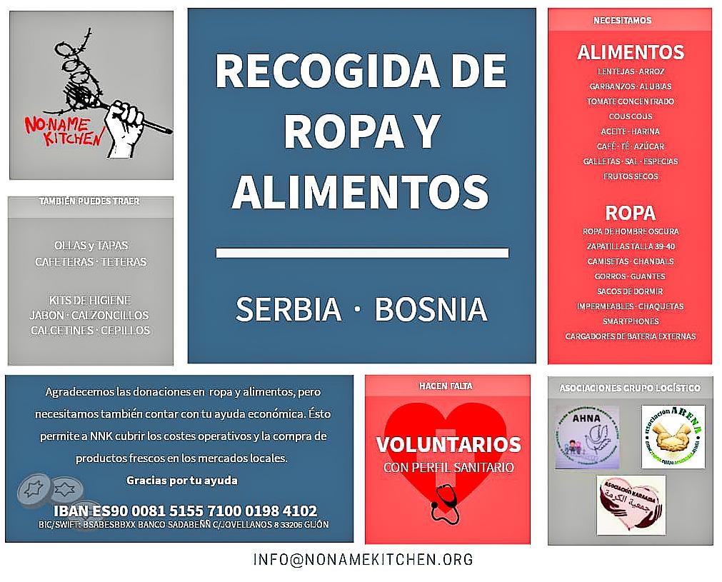 Recogida de material para las personas refugiadas de Serbia y Croacia en Las Rozas