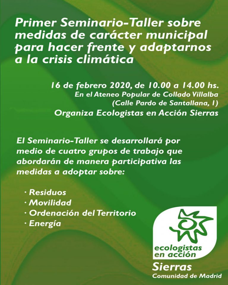primer taller-seminario sobre medidas de carácter municipal para hacer frente y adaptarnos al clima